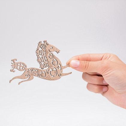 木製オーナメント:SNOW HORSE