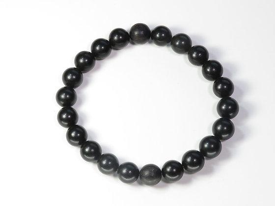 琥珀ブレスレット:黒琥珀&ボグオーク(Lサイズ)L4
