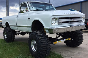 A view of lifted truck suspension