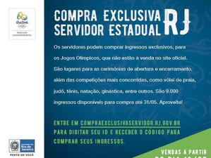 Servidores podem comprar ingressos exclusivos para os Jogos Rio 2016
