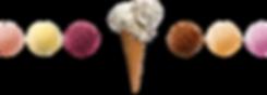 Ice cream flavors & ice cream scoops in cone