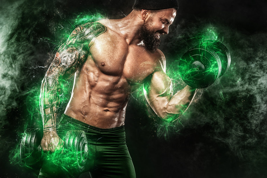 Athlete in green energy lights. Muscular