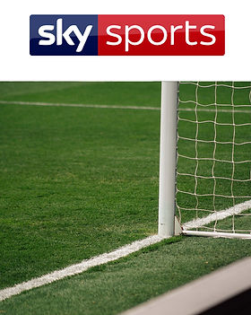 Sky SPorts logo with a close up image of a football pitch and goal post