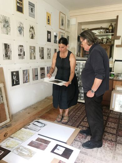 Freeny Yianni and Andrew Davey in his studio