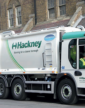 Hackney council waste disposal vehicle on a London street