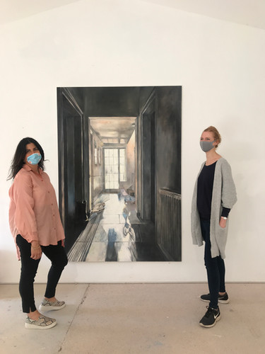 Hallway by Artist in Residence Katherine Perrins, seen here with Freeny Yianni