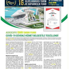2021_05_01_Tarim Türk_Agroexpo Izmir Tarim Fuari Covid 19 Güvenli Hizmet Belgesi Ile Tesci
