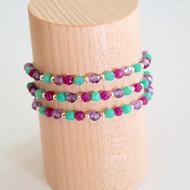 Bracelets mauve, rose & turquoise