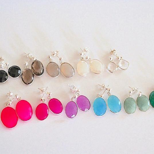 Boucles d'oreilles pierres colorées