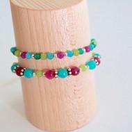 Bracelets rose, bleu & vert