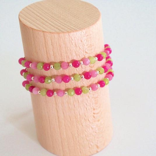 Bracelets rose & vert clair