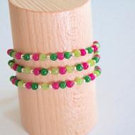 Bracelets vert & rose foncé