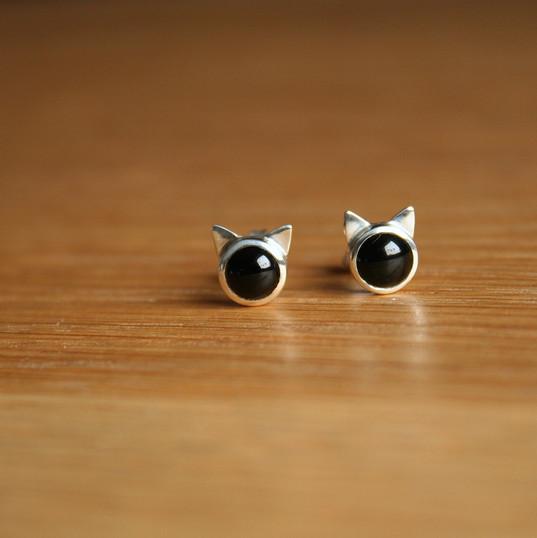 Boucles d'oreilles en onyx et argent