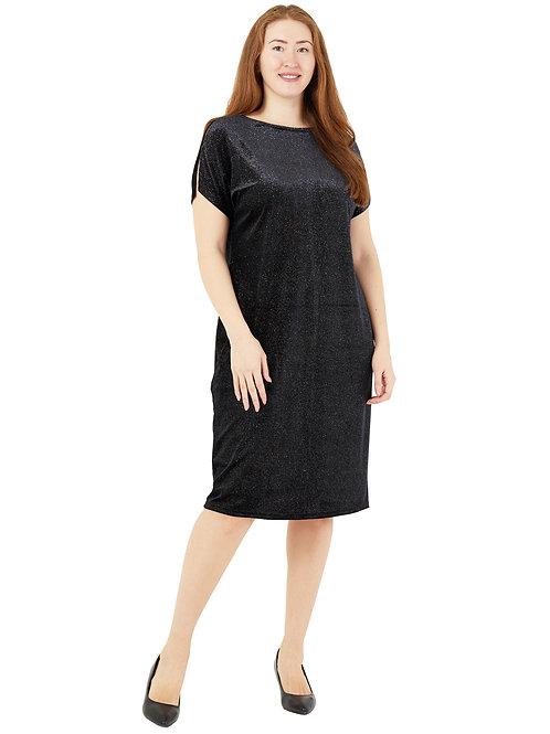 Платье нарядное бархатное с блестками ( цвет черный) 771984