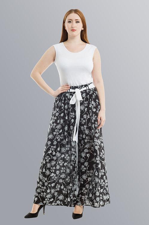 Брюки-юбка с черно-белым рисунком