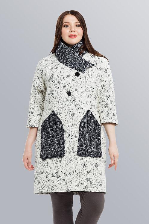 Пальто весеннее комбинированное