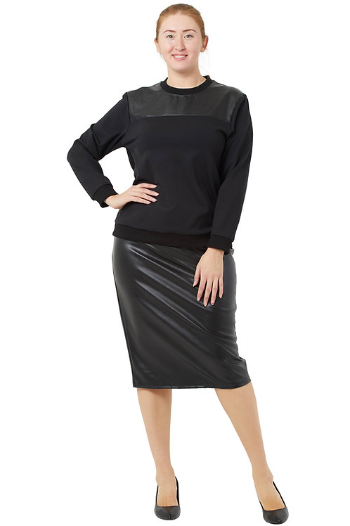 Туника с кокеткой из экокожи (цвет черный) 331974