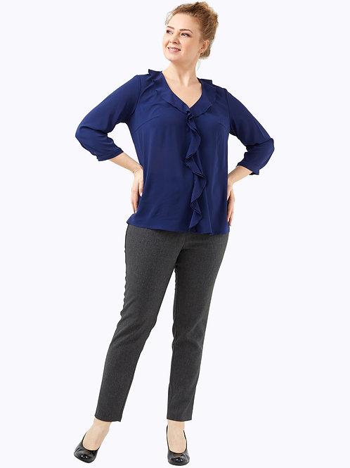 Блузка с воланом темно-синяя.  221917