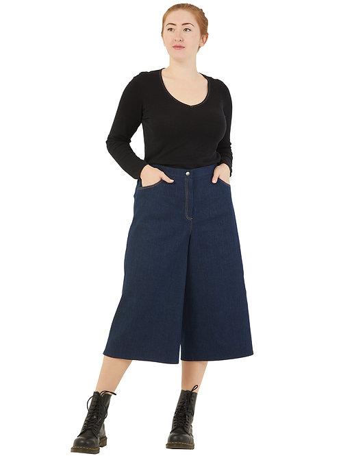 Кюлоты джинсовые  темно-синие 991980