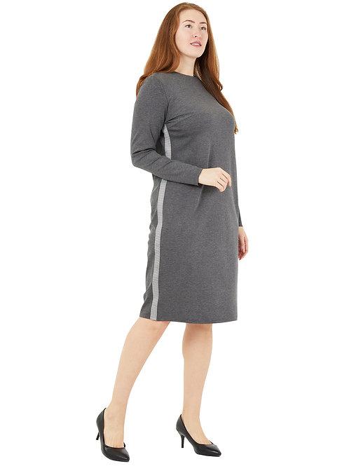 Платье классического силуета с лампасами (серый цвет) 771982