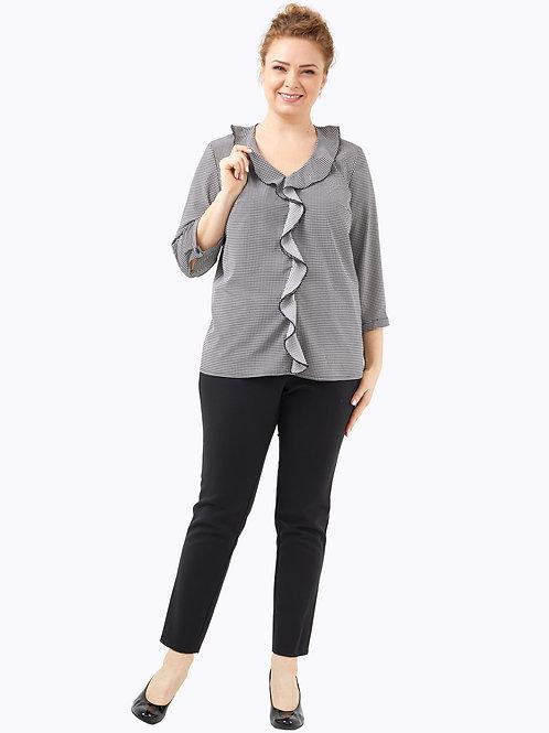 Блузка с воланом черно-белая.  221919