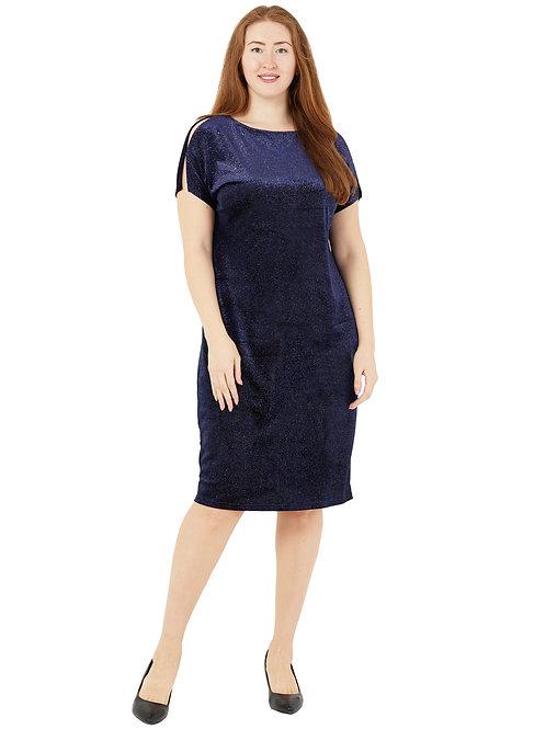 Платье нарядное бархатное с блестками ( цвет синий) 771985
