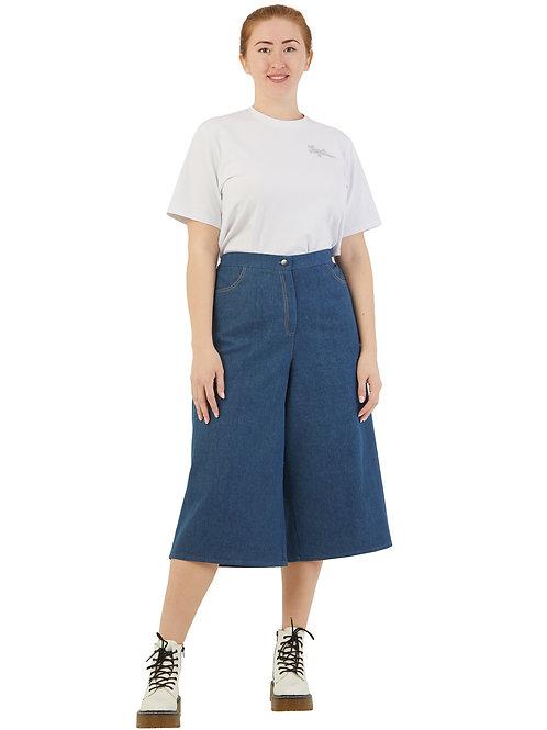 Кюлоты светло-синие джинсовые 661979