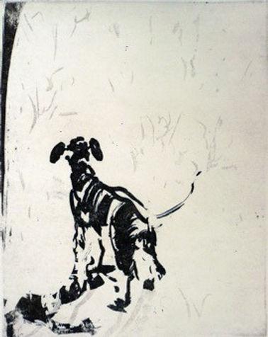 Sin titulo (perro). Litografia. 38 x 28.