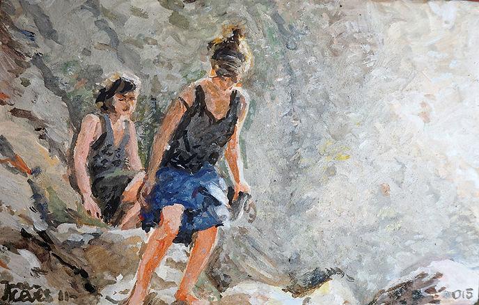 Cascada, fresco sobre teja, 14x 22 cm. 2