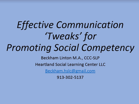 Effective Communication 'Tweaks' for Promoting Social Competency
