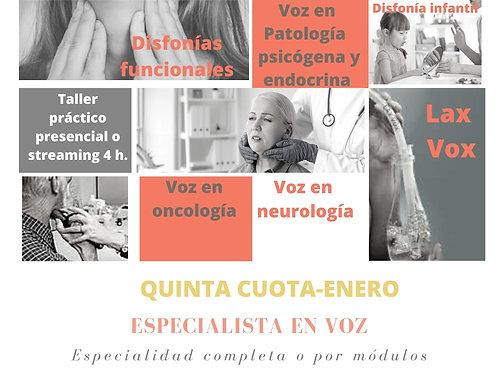 Quinta cuota- Especialista en Voz-Enero