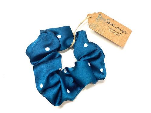 Little Larry's blue polkadot scrunchie