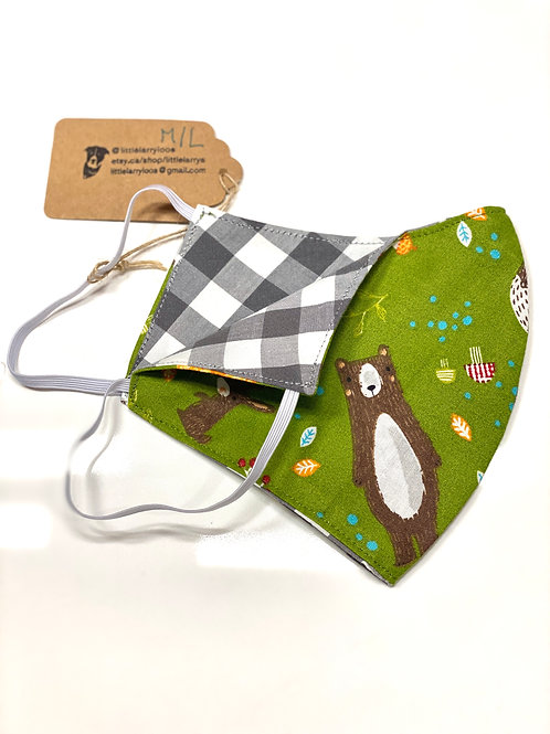 Double sided reusable face mask green