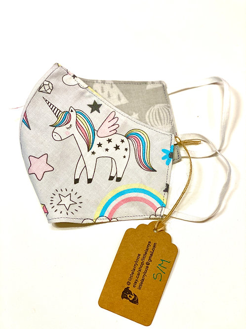 Double sided reusable face mask unicorn