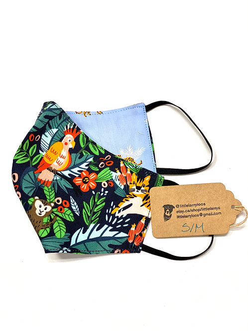 Double sided reusable face mask tropical
