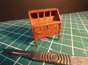 1:25 Scale Writing Desk. Mountboard, acrylic paint and Milliput.
