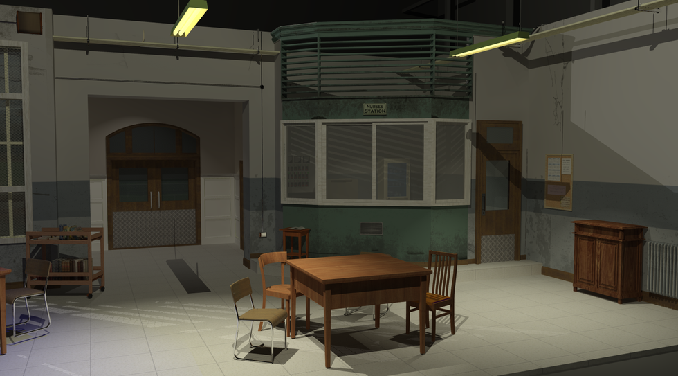 Render of One Flew over the Cuckoo's Nest Set design. Modelled using AutoCAD, SketchUp and SU Podium