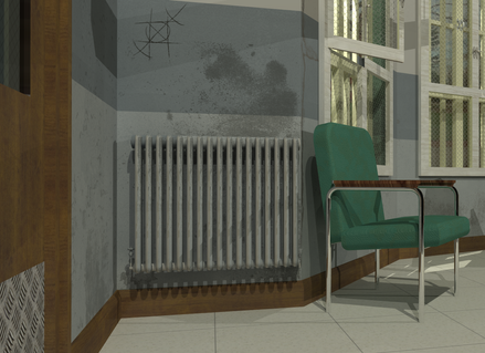 Rendered Detail of One Flew over the Cuckoo's Nest. Modelling created in SketchUp and SU Podium. Textures created in Adobe Photoshop.