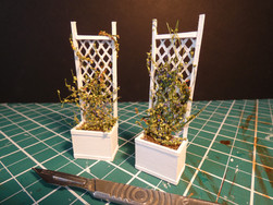 1:25 Scale Planters. Mountboard, acrylic paint, dirt and green petal vines.