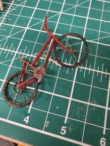 1:25 Scale Bike. Mountboard, Acrylic Paint, Piano wire
