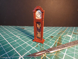 1:25 Scale Grandfather Clock. Mountboard, dowel, acrylic paint, glaze, perspex and wire.