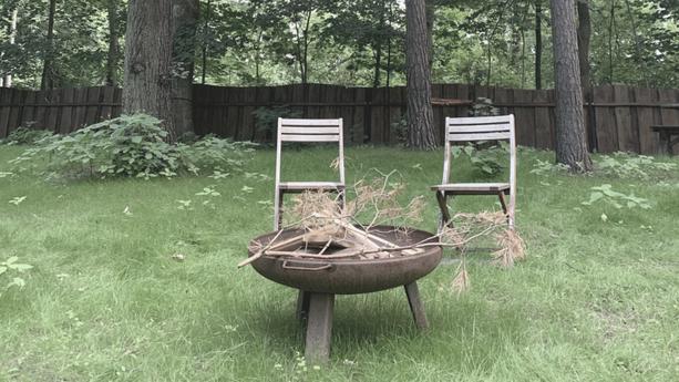 Garten mit Feuerstelle