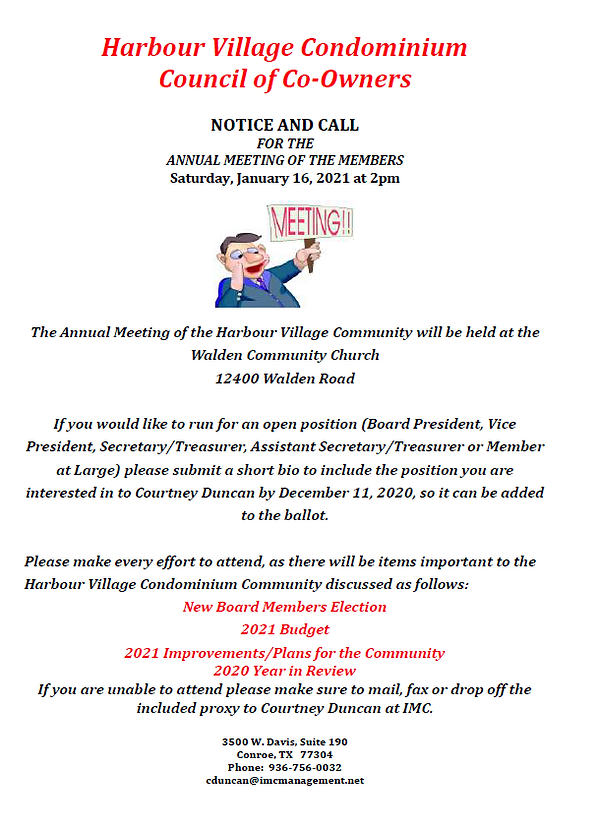Annual Meeting Notice and Call for 2021.
