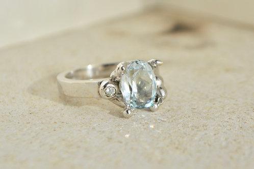 Ocean blue aquamarine ring