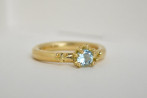 Beaded Aquamarine Ring