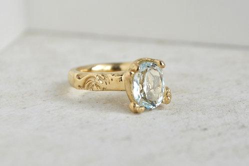 Aquamarine rose ring