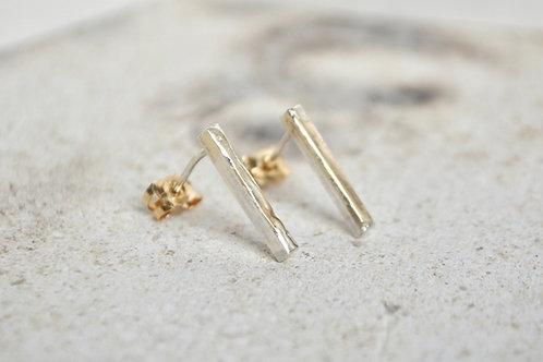 mixed metal oblong earrings