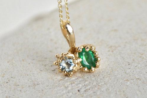 Aquamarine and Emerald Pendant