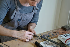 Caroline McInally, jewellery making in action.