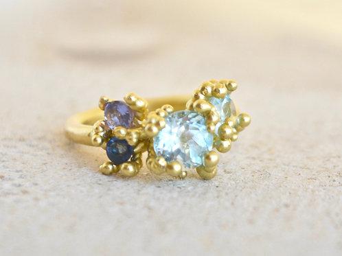 Aquamarine and Sapphire cluster Ring